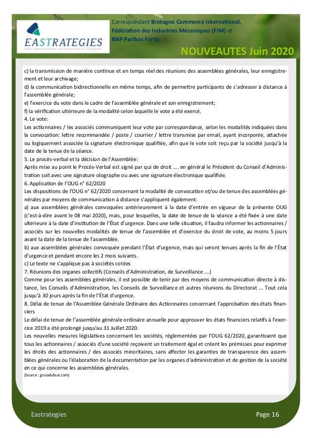 Eastrategies Page 16 NOUVEAUTES Juin 2020 Correspondant Bretagne Commerce Interna onal, Fédéra on des Industries Mécanique...