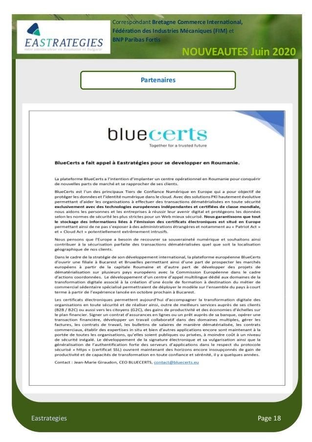 Eastrategies Page 18 NOUVEAUTES Juin 2020 Correspondant Bretagne Commerce Interna onal, Fédéra on des Industries Mécanique...
