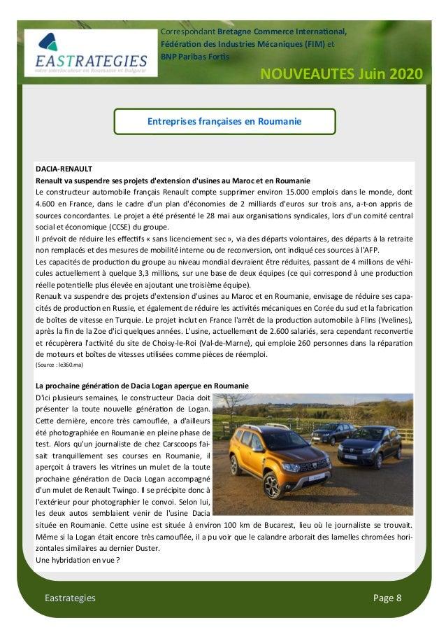 Eastrategies Page 8 NOUVEAUTES Juin 2020 Correspondant Bretagne Commerce Interna onal, Fédéra on des Industries Mécaniques...
