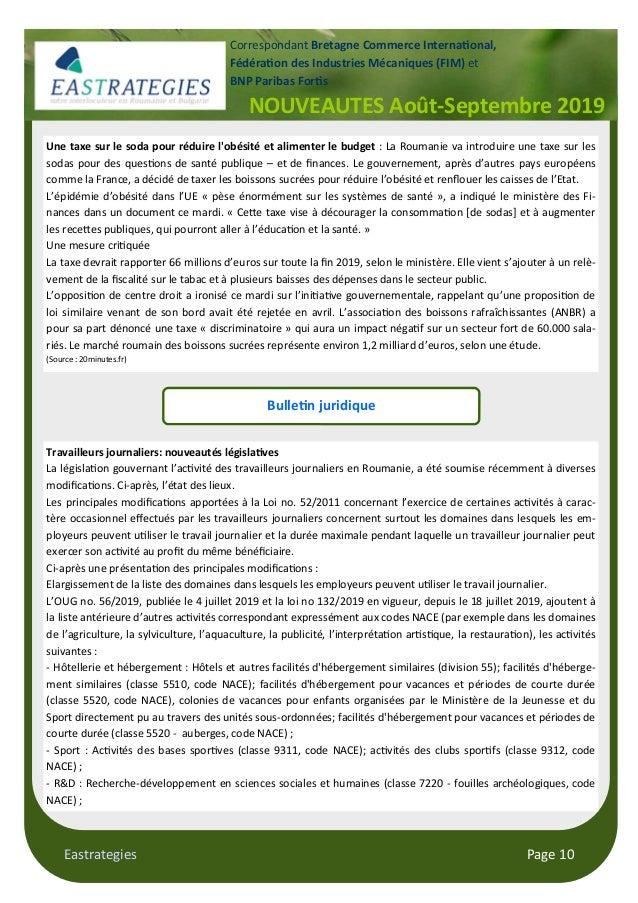 Eastrategies Page 10 NOUVEAUTES Août-Septembre 2019 Correspondant Bretagne Commerce Interna$onal, Fédéra$on des Industries...