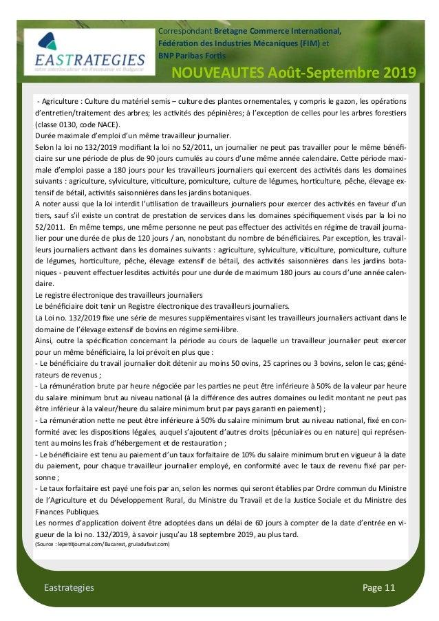 Eastrategies Page 11 NOUVEAUTES Août-Septembre 2019 Correspondant Bretagne Commerce Interna$onal, Fédéra$on des Industries...