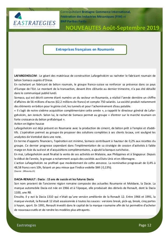 Eastrategies Page 12 NOUVEAUTES Août-Septembre 2019 Correspondant Bretagne Commerce Interna$onal, Fédéra$on des Industries...