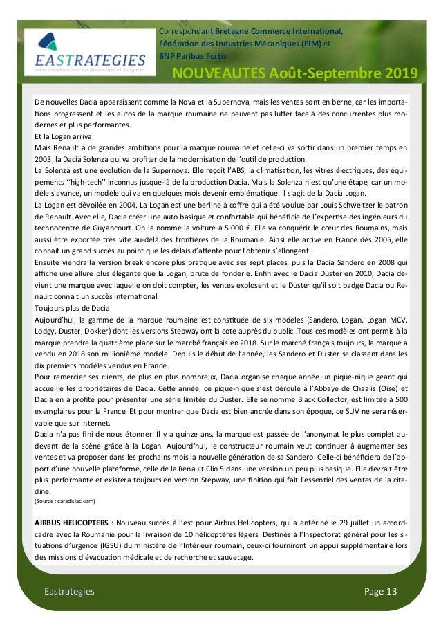 Eastrategies Page 13 NOUVEAUTES Août-Septembre 2019 Correspondant Bretagne Commerce Interna$onal, Fédéra$on des Industries...