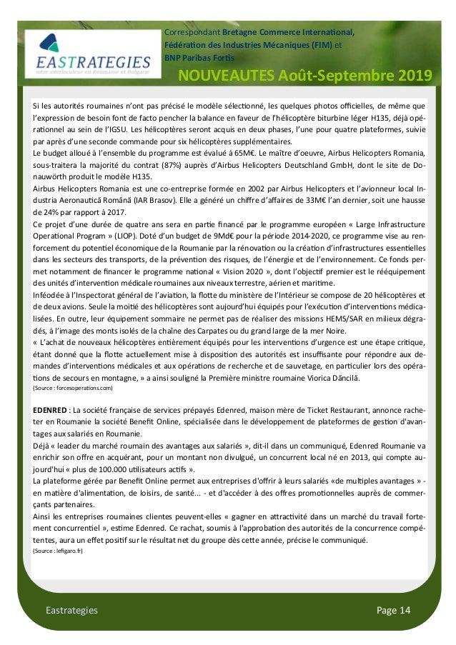 Eastrategies Page 14 NOUVEAUTES Août-Septembre 2019 Correspondant Bretagne Commerce Interna$onal, Fédéra$on des Industries...