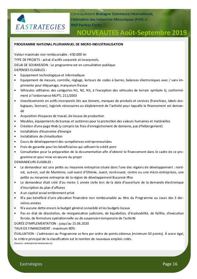 Eastrategies Page 16 NOUVEAUTES Août-Septembre 2019 Correspondant Bretagne Commerce Interna$onal, Fédéra$on des Industries...