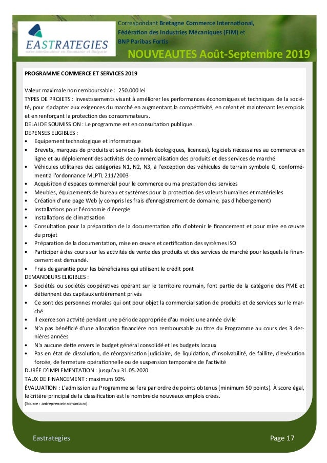 Eastrategies Page 17 NOUVEAUTES Août-Septembre 2019 Correspondant Bretagne Commerce Interna$onal, Fédéra$on des Industries...
