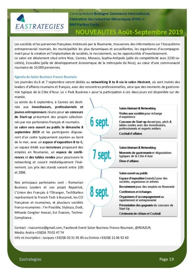 Eastrategies Page 19 NOUVEAUTES Août-Septembre 2019 Correspondant Bretagne Commerce Interna$onal, Fédéra$on des Industries...