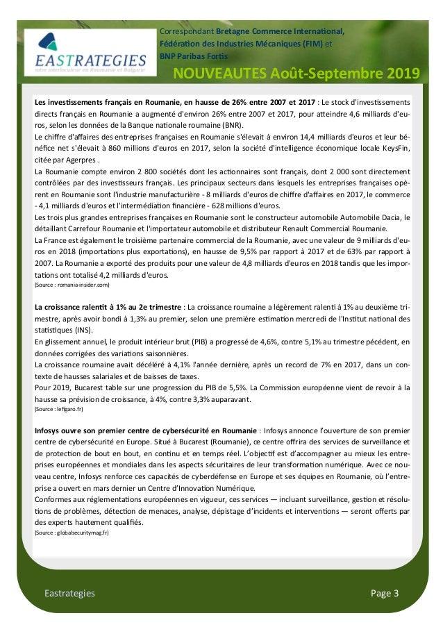 Eastrategies Page 3 Les inves$ssements français en Roumanie, en hausse de 26% entre 2007 et 2017 : Le stock d'inves ssemen...