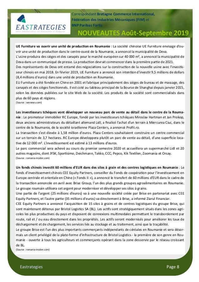 Eastrategies Page 8 NOUVEAUTES Août-Septembre 2019 Correspondant Bretagne Commerce Interna$onal, Fédéra$on des Industries ...