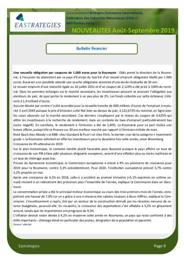 Eastrategies Page 9 NOUVEAUTES Août-Septembre 2019 Correspondant Bretagne Commerce Interna$onal, Fédéra$on des Industries ...