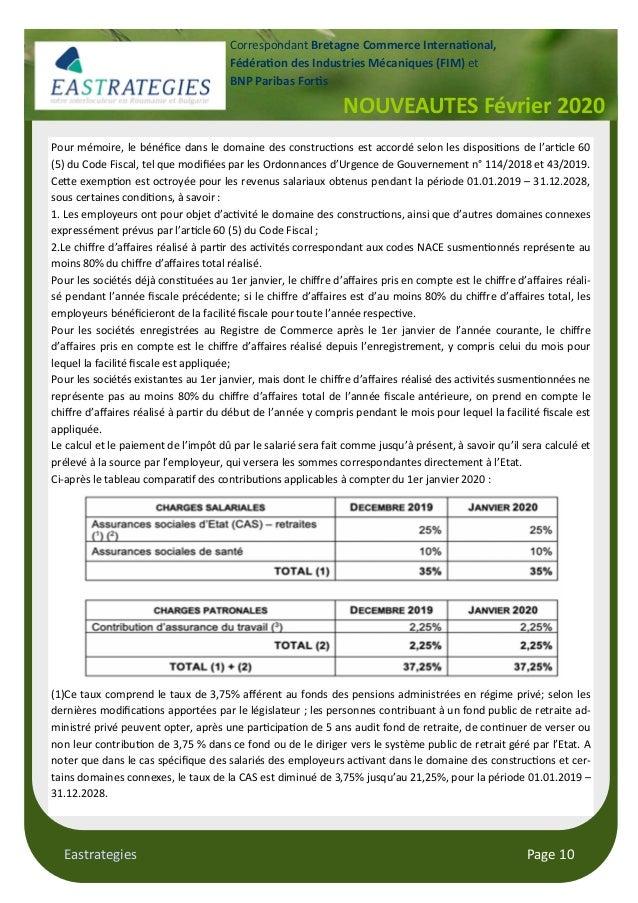 Eastrategies Page 10 NOUVEAUTES Février 2020 Correspondant Bretagne Commerce Interna!onal, Fédéra!on des Industries Mécani...