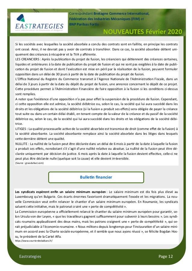 Eastrategies Page 12 NOUVEAUTES Février 2020 Correspondant Bretagne Commerce Interna!onal, Fédéra!on des Industries Mécani...