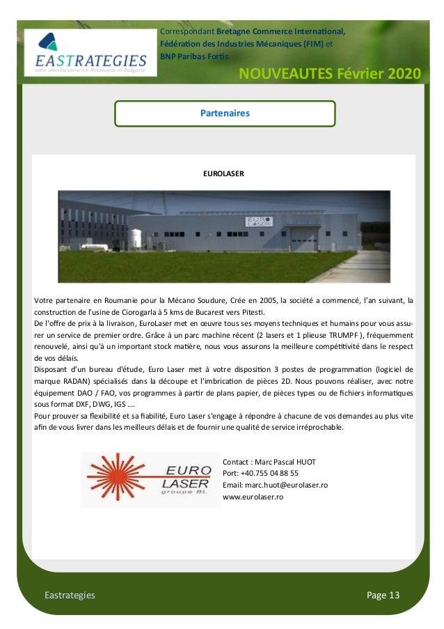 Eastrategies Page 13 NOUVEAUTES Février 2020 Correspondant Bretagne Commerce Interna!onal, Fédéra!on des Industries Mécani...