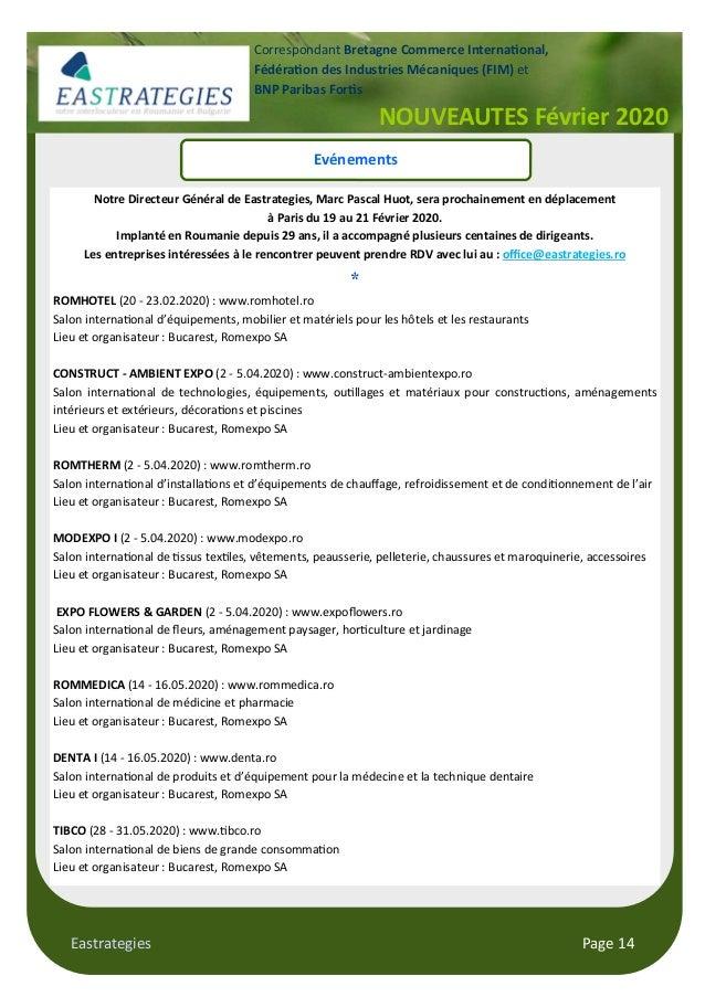 Eastrategies Page 14 NOUVEAUTES Février 2020 Correspondant Bretagne Commerce Interna!onal, Fédéra!on des Industries Mécani...
