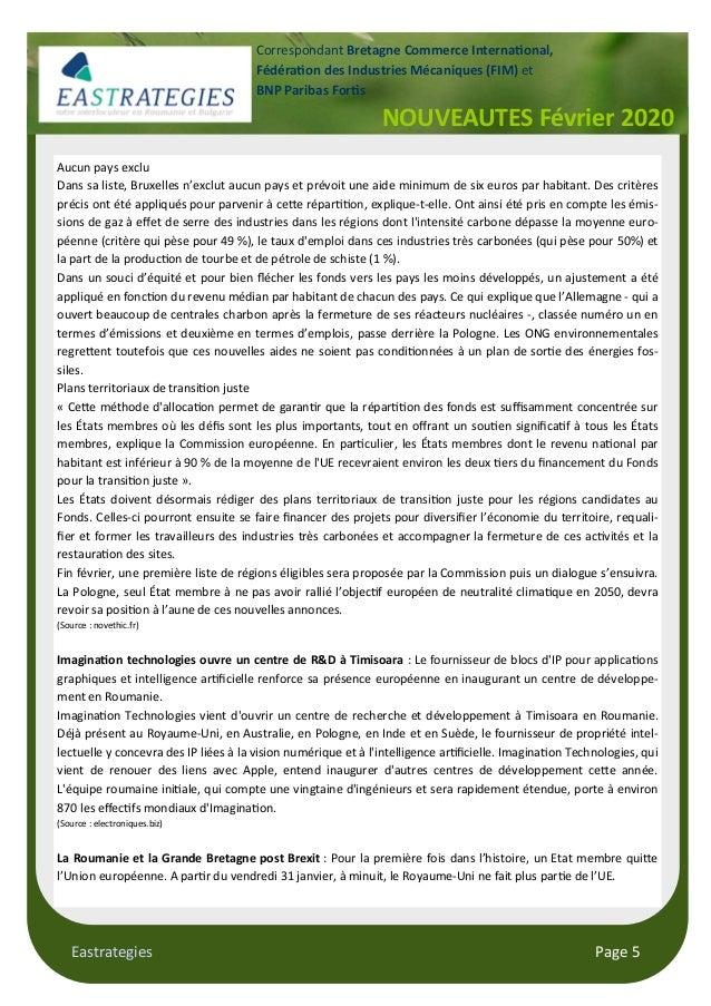 Eastrategies Page 5 NOUVEAUTES Février 2020 Correspondant Bretagne Commerce Interna!onal, Fédéra!on des Industries Mécaniq...