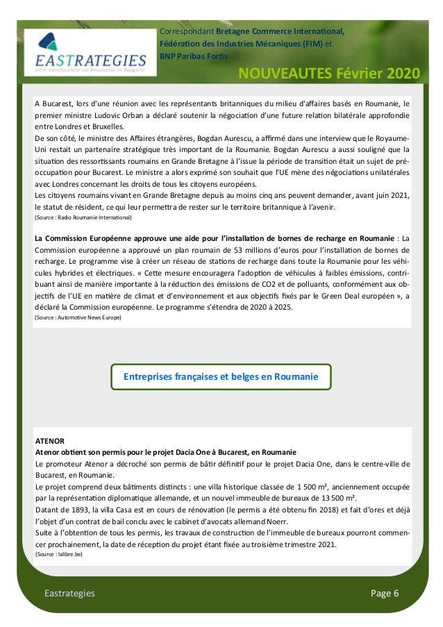 Eastrategies Page 6 NOUVEAUTES Février 2020 Correspondant Bretagne Commerce Interna!onal, Fédéra!on des Industries Mécaniq...
