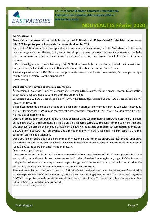 Eastrategies Page 7 NOUVEAUTES Février 2020 Correspondant Bretagne Commerce Interna!onal, Fédéra!on des Industries Mécaniq...