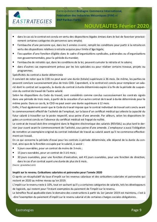 Eastrategies Page 9 NOUVEAUTES Février 2020 Correspondant Bretagne Commerce Interna!onal, Fédéra!on des Industries Mécaniq...