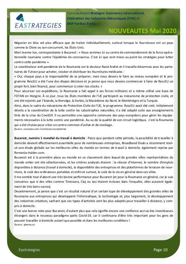 Eastrategies Page 10 NOUVEAUTES Mai 2020 Correspondant Bretagne Commerce Interna onal, Fédéra on des Industries Mécaniques...