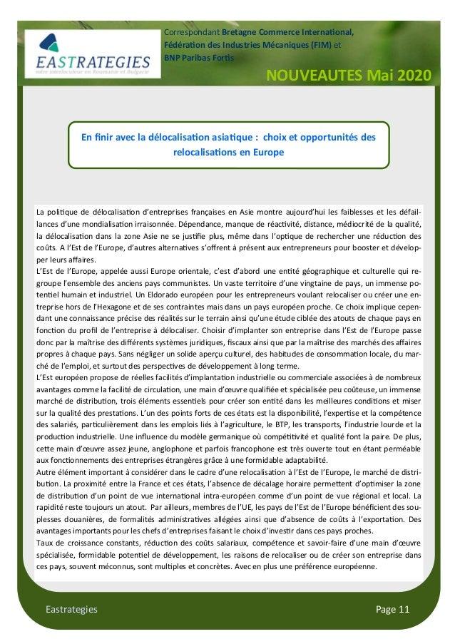 Eastrategies Page 11 NOUVEAUTES Mai 2020 Correspondant Bretagne Commerce Interna onal, Fédéra on des Industries Mécaniques...