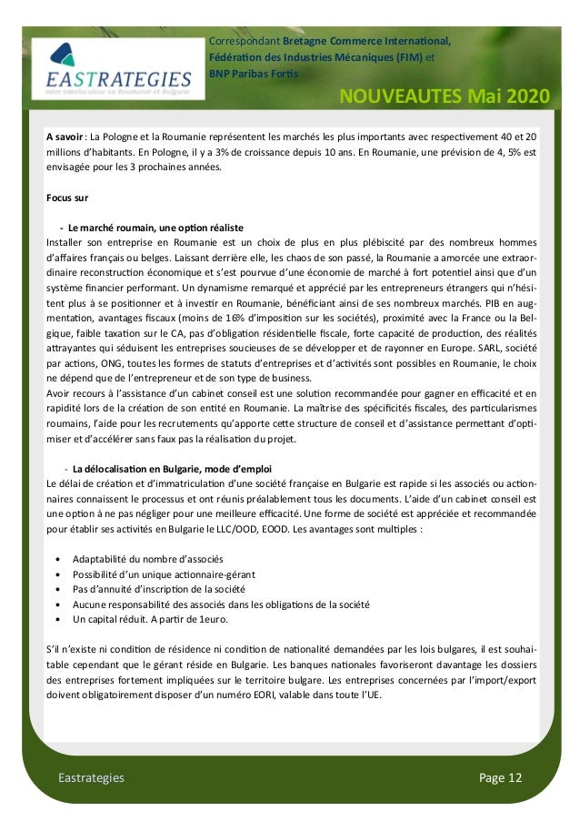 Eastrategies Page 12 NOUVEAUTES Mai 2020 Correspondant Bretagne Commerce Interna onal, Fédéra on des Industries Mécaniques...