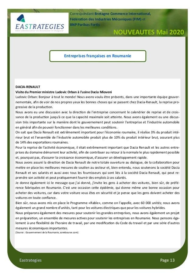 Eastrategies Page 13 NOUVEAUTES Mai 2020 Correspondant Bretagne Commerce Interna onal, Fédéra on des Industries Mécaniques...