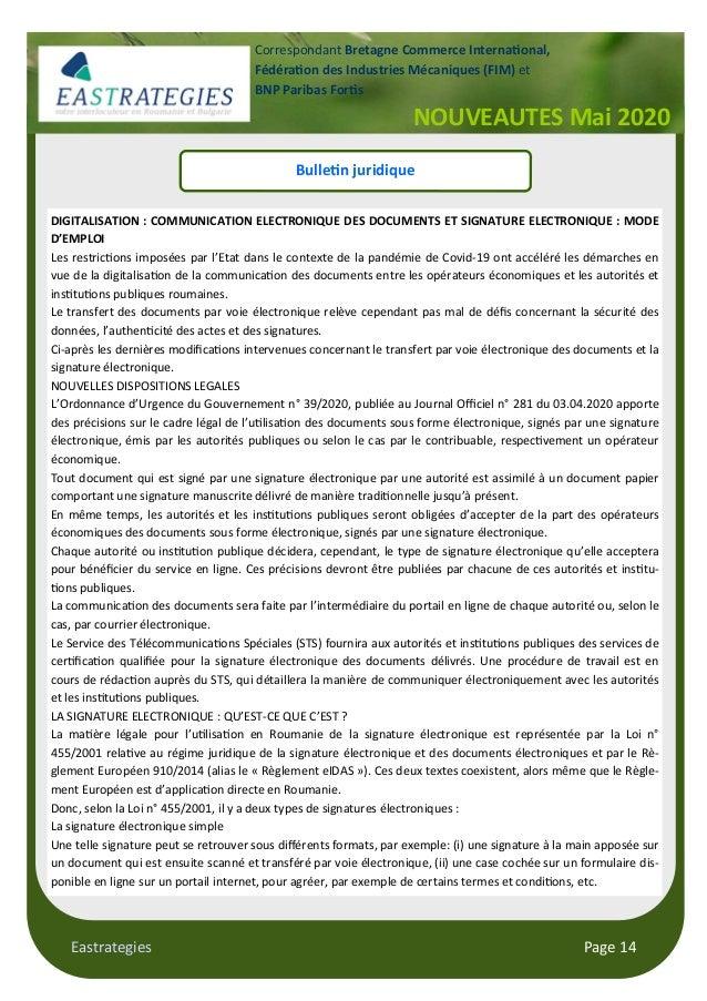 Eastrategies Page 14 NOUVEAUTES Mai 2020 Correspondant Bretagne Commerce Interna onal, Fédéra on des Industries Mécaniques...