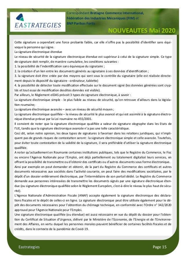 Eastrategies Page 15 NOUVEAUTES Mai 2020 Correspondant Bretagne Commerce Interna onal, Fédéra on des Industries Mécaniques...