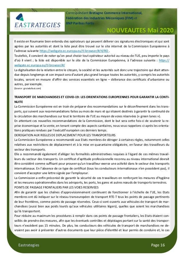 Eastrategies Page 16 NOUVEAUTES Mai 2020 Correspondant Bretagne Commerce Interna onal, Fédéra on des Industries Mécaniques...