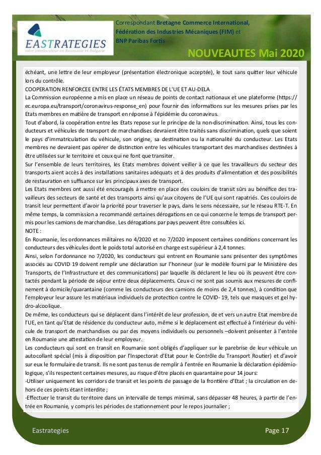 Eastrategies Page 17 NOUVEAUTES Mai 2020 Correspondant Bretagne Commerce Interna onal, Fédéra on des Industries Mécaniques...