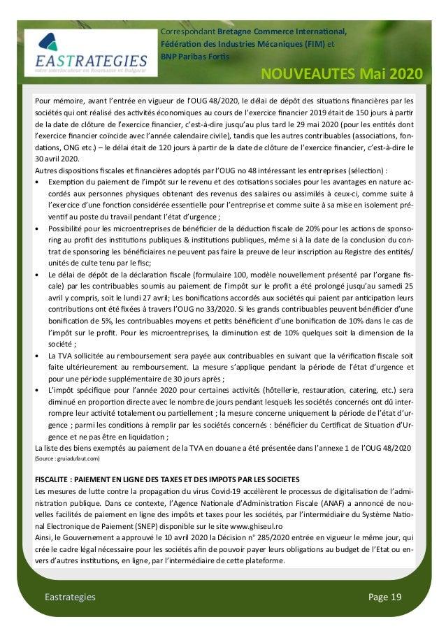 Eastrategies Page 19 NOUVEAUTES Mai 2020 Correspondant Bretagne Commerce Interna onal, Fédéra on des Industries Mécaniques...