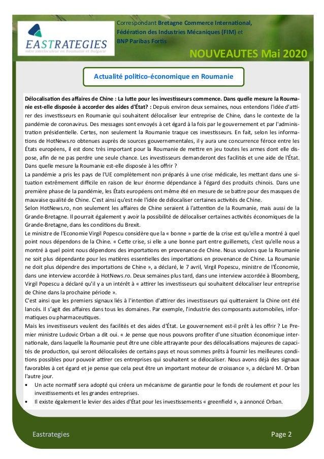 Eastrategies Page 2 Actualité poli co-économique en Roumanie Délocalisa on des affaires de Chine : La lu/e pour les inves s...