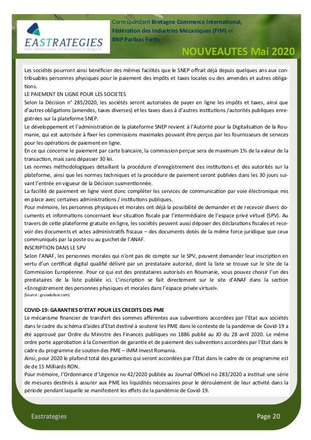 Eastrategies Page 20 NOUVEAUTES Mai 2020 Correspondant Bretagne Commerce Interna onal, Fédéra on des Industries Mécaniques...