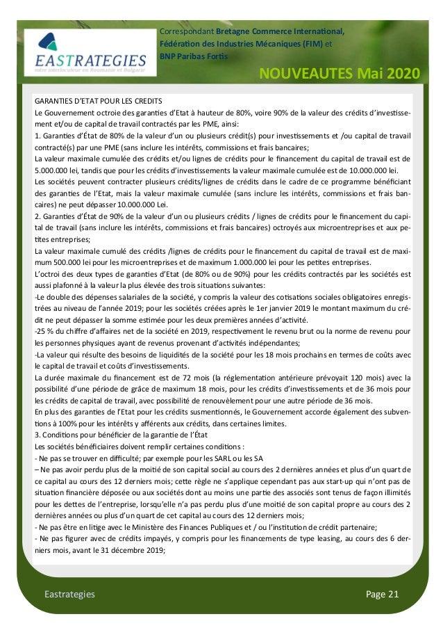 Eastrategies Page 21 NOUVEAUTES Mai 2020 Correspondant Bretagne Commerce Interna onal, Fédéra on des Industries Mécaniques...