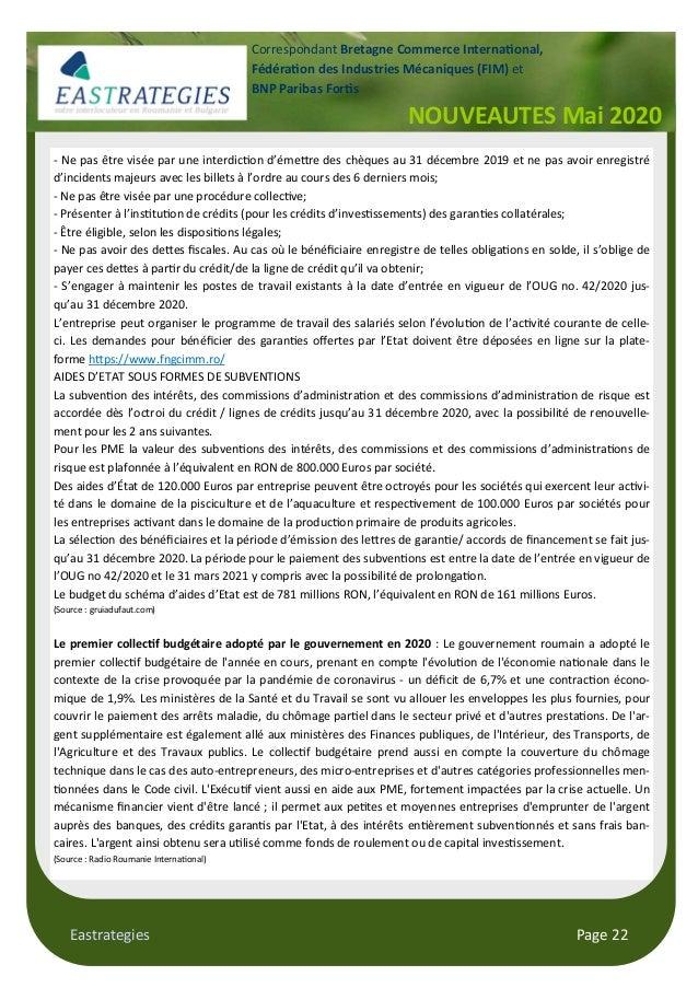 Eastrategies Page 22 NOUVEAUTES Mai 2020 Correspondant Bretagne Commerce Interna onal, Fédéra on des Industries Mécaniques...