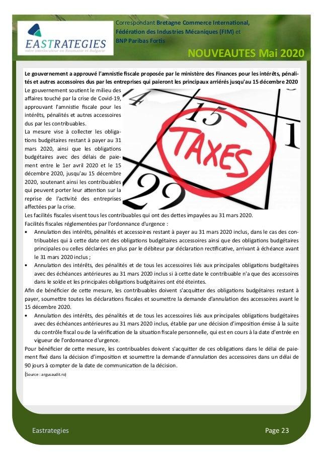 Eastrategies Page 23 NOUVEAUTES Mai 2020 Correspondant Bretagne Commerce Interna onal, Fédéra on des Industries Mécaniques...