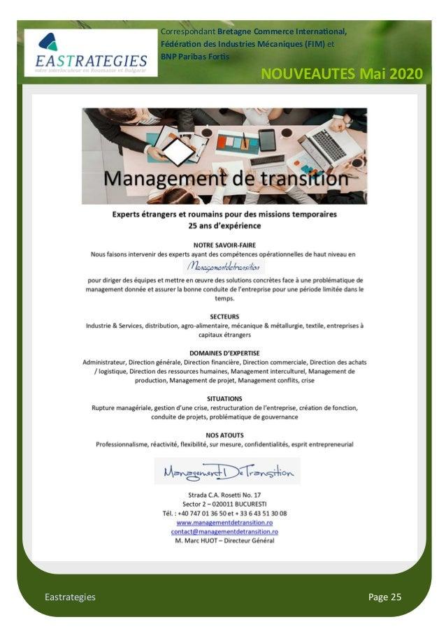 Eastrategies Page 25 NOUVEAUTES Mai 2020 Correspondant Bretagne Commerce Interna onal, Fédéra on des Industries Mécaniques...
