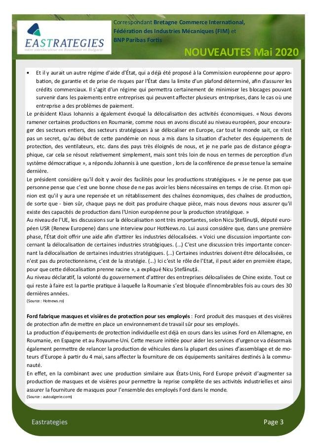 Eastrategies Page 3 NOUVEAUTES Mai 2020 Correspondant Bretagne Commerce Interna onal, Fédéra on des Industries Mécaniques ...