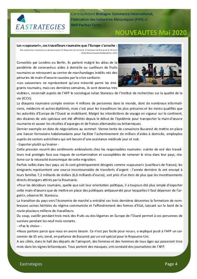 Eastrategies Page 4 NOUVEAUTES Mai 2020 Correspondant Bretagne Commerce Interna onal, Fédéra on des Industries Mécaniques ...