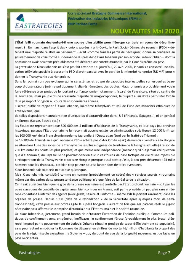 Eastrategies Page 7 L'État failli roumain deviendra-t-il une source d'instabilité pour l'Europe centrale en cours de décon...