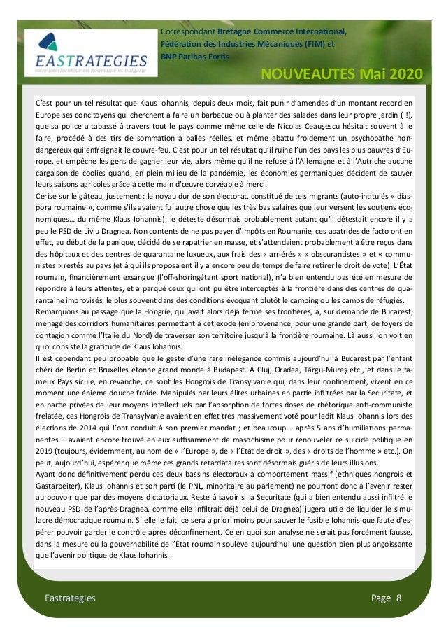 Eastrategies Page 8 NOUVEAUTES Mai 2020 Correspondant Bretagne Commerce Interna onal, Fédéra on des Industries Mécaniques ...