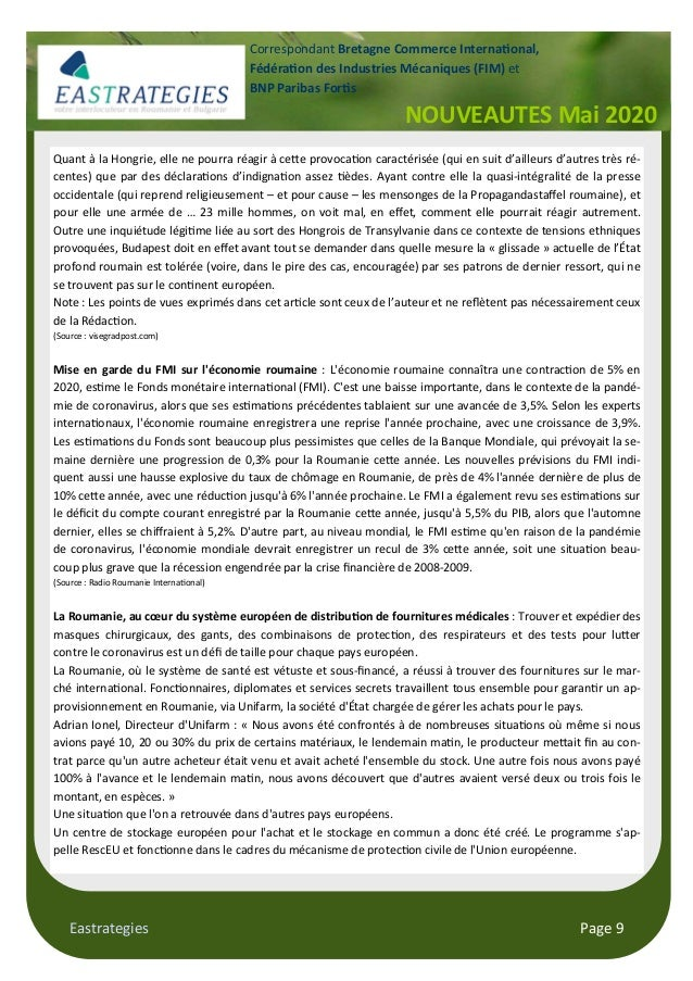 Eastrategies Page 9 Quant à la Hongrie, elle ne pourra réagir à ceJe provoca on caractérisée (qui en suit d'ailleurs d'aut...