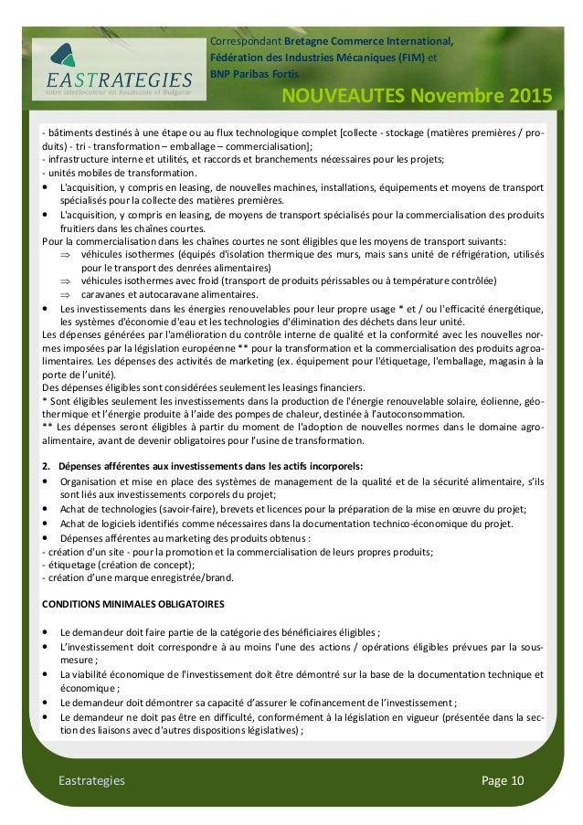 Eastrategies Page 10 NOUVEAUTES Novembre 2015 Correspondant Bretagne Commerce International, Fédération des Industries Méc...