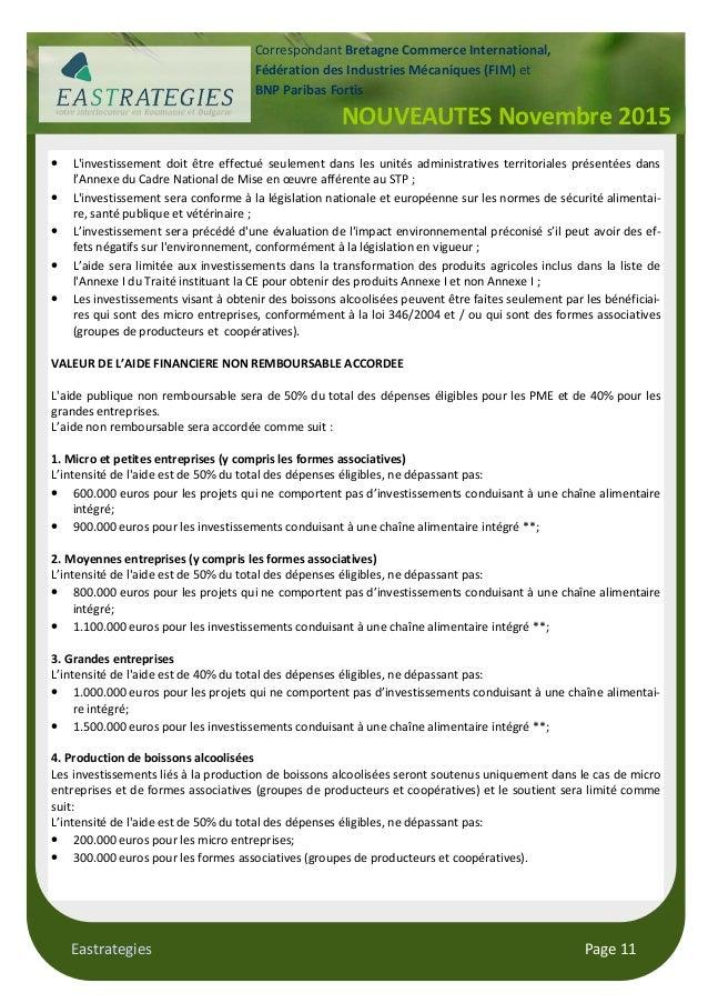 Eastrategies Page 11 NOUVEAUTES Novembre 2015 Correspondant Bretagne Commerce International, Fédération des Industries Méc...