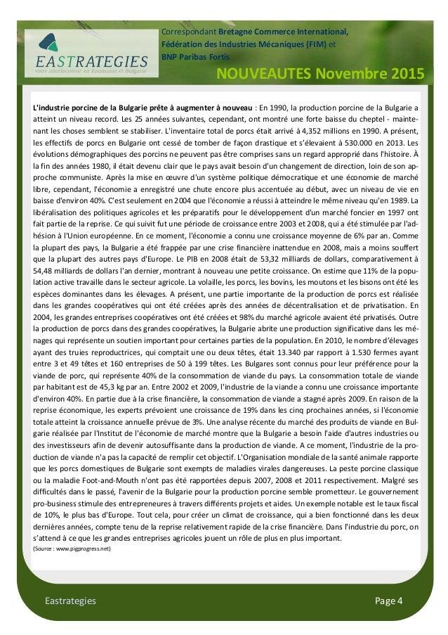 Eastrategies Page 4 L'industrie porcine de la Bulgarie prête à augmenter à nouveau : En 1990, la production porcine de la ...