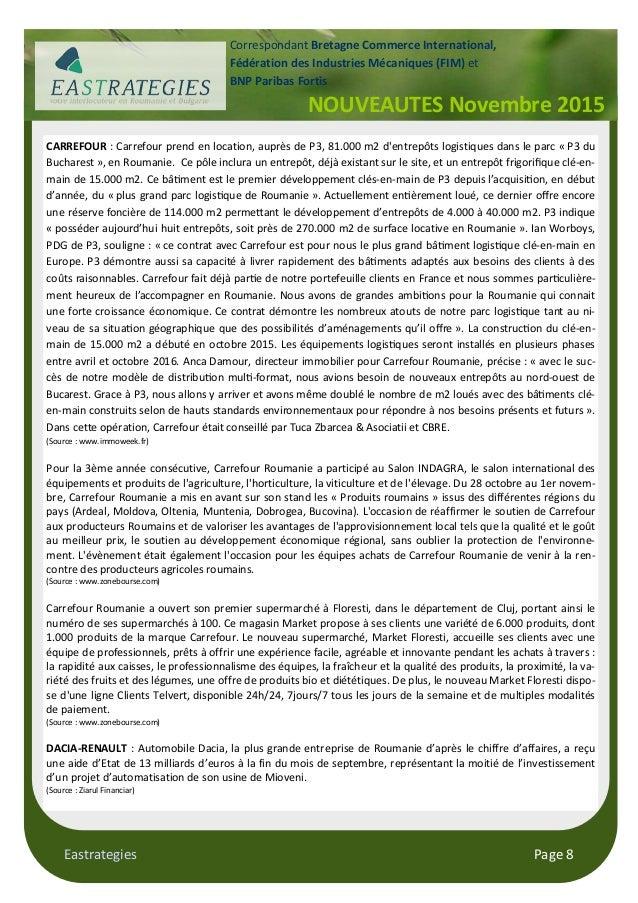 Eastrategies Page 8 NOUVEAUTES Novembre 2015 Correspondant Bretagne Commerce International, Fédération des Industries Méca...
