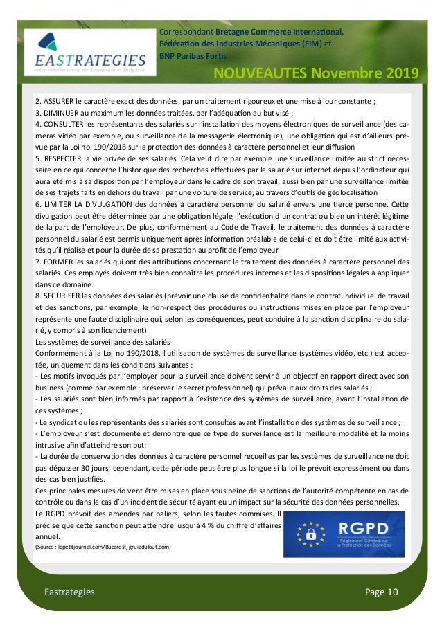 Eastrategies Page 10 NOUVEAUTES Novembre 2019 Correspondant Bretagne Commerce Interna#onal, Fédéra#on des Industries Mécan...