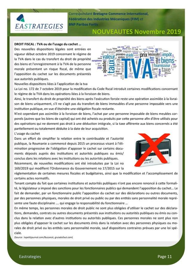 Eastrategies Page 11 NOUVEAUTES Novembre 2019 Correspondant Bretagne Commerce Interna#onal, Fédéra#on des Industries Mécan...