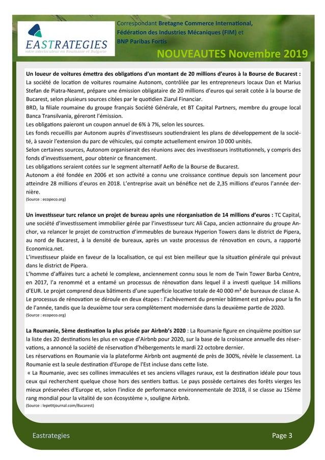 Eastrategies Page 3 NOUVEAUTES Novembre 2019 Correspondant Bretagne Commerce Interna#onal, Fédéra#on des Industries Mécani...