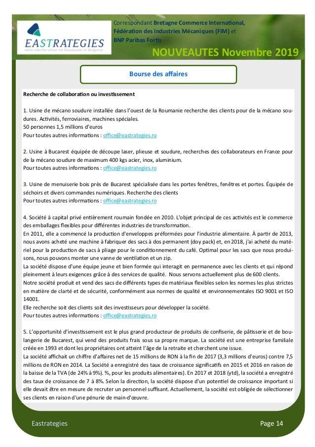 Eastrategies Page 14 NOUVEAUTES Novembre 2019 Correspondant Bretagne Commerce Interna#onal, Fédéra#on des Industries Mécan...
